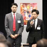 Japan hoop star Yuta Tabuse speaks at a meeting of the new basketball-supporting parliamentarians' association on Tuesday in Tokyo. | KAZ NAGATSUKA