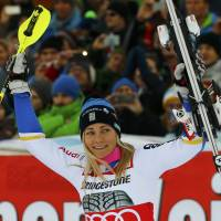 Frida Hansdotter celebrates after her World Cup slalom win on Tuesday in Lienz, Austria. | REUTERS