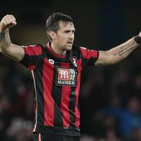 Bournemouth's Charlie Daniels celebrates after his team's upset victory over Chelsea. | REUTERS