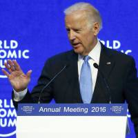 U.S. Vice President Joe Biden addresses an audience at the World Economic Forum in Davos, Switzerland, on Wednesday. | REUTERS