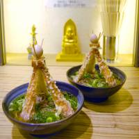 Nankai Soba serves 'Tower Soba,' in recognition of Osaka's Tsutenkaku Tower, at an outlet in the city in November. | KYODO