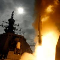 A Standard Missile 3 is launched from the Japanese Aegis destroyer JS Kongo to intercept a target missile launched from the Pacific Missile Range Facility on Kuai, Hawaii, on Dec. 17, 2007. Japan's first Aegis missile test resulted in a successful intercept. | U.S. NAVY