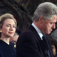 First lady Hillary Rodham Clinton watches President Bill Clinton thank those Democratic members of the House of Representatives who voted against impeachment on Dec. 19, 1998. | AP