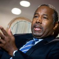 Republican presidential candidate Dr. Ben Carson speaks Dec. 23 in his home in Upperco, Maryland. | AP