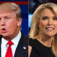 This file photo combination made from Aug. 6 shows Republican presidential candidate Donald Trump and Fox News Channel host and moderator Megyn Kelly during the first Republican presidential debate at the Quicken Loans Arena, in Cleveland. | AP