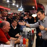 Republican Presidential candidate, Sen. Ted Cruz,  campaigns at Penny's Diner in Missouri Valley, Iowa, Monday. Cruz and Marco Rubio are fighting for the favor of many of the same undecided voters across Iowa, where even some of the most attentive Republicans say they can't make up their minds less than four weeks before voting begins. | AP