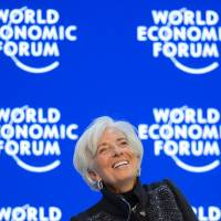 International Monetary Fund Managing Director Christine Lagarde attends the annual World Economic Forum meeting in Davos, Switzerland, on Saturday. | AFP-JIJI