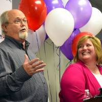 Powerball jackpot winners Lisa and John Robinson of Munford, Tennessee, speak to the media at the headquarters of the Tennessee Lottery in Nashville on Friday. | REUTERS