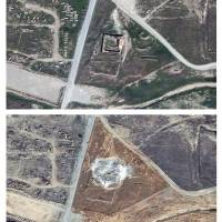 This combination of two satellite images provided by DigitalGlobe, taken on March 31, 2011 (top) and Sept. 28, 2014, shows the site of the 1,400-year-old Christian monastery known as St. Elijah's, or Dair Mar Elia, on the outskirts of Mosul, Iraq. These satellite photos obtained by The Associated Press this month confirm what church leaders and Middle East preservationists had feared: The monastery has been reduced to a field of rubble, yet another victim of the Islamic State's relentless destruction. | DIGITALGLOBE VIA AP