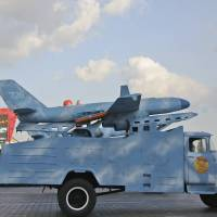 A drone is paraded Oct. 15 in Pyongyang. North Korea has in recent years touted its drone program, a relatively new addition to its arsenal. South Korea on Wednesdayfired warning shots after an unknown object from North Korea was seen flying close to the rivals' border, the South's military said. South Korean media reported that it was a North Korean drone. | AP