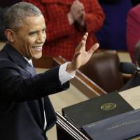 President Barack Obama waves before giving his State of the Union address last Jan 20 before a joint session of Congress on Capitol Hill in Washington. Obama will deliver his final State of the Union address Tuesday to a nation with a burgeoning job market, flat wages and two things that to the president's dismay are rising: global temperatures and Americans' concerns about terrorism. | AP