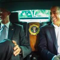 This framegrab image provided by Crackle and comediansincarsgettingcoffee.com shows President Barack Obama with Jerry Seinfeld in a scene from a 'Comedians in Cars Getting Coffee.' The president and Seinfeld compare cars and trade one-liners in a 19-minute episode of 'Comedians In Cars Getting Coffee.' The episode began airing Wednesday night. | CRACKLE AND COMEDIANSINCARSGETTINGCOFFEE.COM VIA AP