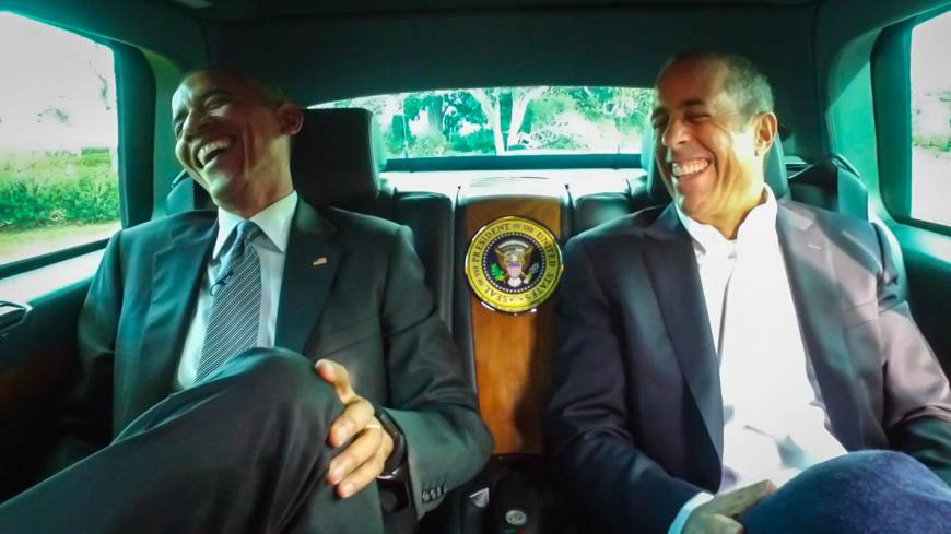 Obama takes Seinfeld for cruise in 'The Beast' for web show coffee quest chat