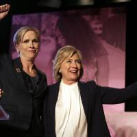 Democratic presidential candidate Hillary Clinton, (right) stands with Cecile Richards, Planned Parenthood's president, during an event Sunday in Hooksett, New Hampshire, held by the group to publicly endorse Clinton. The endorsement by the group's political arm marks Planned Parenthood's first time wading into a presidential primary. | AP