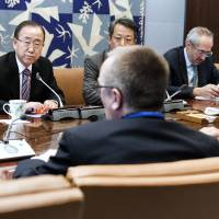 U.N. Secretary-General Ban Ki-moon holds an emergency meeting with senior advisers to discuss North Korea on Wednesday. | AFP-JIJI