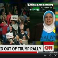 In this screen shot taken from CNN.com, Rose Hamid, a 56-year-old U.S. Muslim woman, is ejected from a Donald Trump election rally held at Winthrop University in Rock Hill, South Carolina, on Friday.