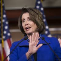 House Minority Leader Nancy Pelosi reporters there will be strong bipartisan support next week on legislation imposing new sanctions on North Korea after the authoritarian regime drew international condemnation by boasting of setting off a hydrogen bomb, during a news conference on Capitol Hill in Washington, Thursday.   AP