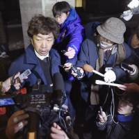 Keyth Tour President Mankichi Fukuda speaks to  reporters Monday afternoon at a hospital in Saku, Nagano Prefecture. | KYODO