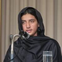 Nabila Rehman speaks about losing her grandmother and being injured in a U.S. drone attack in Pakistan in October 2012 at the age of 8, at a symposium organized by the Center for Contemporary Islamic Studies in Tokyo on Nov. 16, 2015. | KYODO