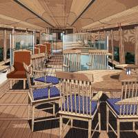 The interior of the Fujisan View Express train is seen in this illustration. | EIJI MITOOKA / DON DESIGN ASSOCIATES