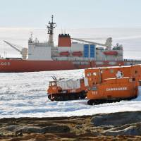 The icebreaker Shirase arrives Monday at Showa Station, Japan's research base in Antarctica. | POOL / KYODO