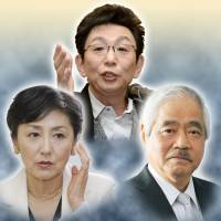 News anchors Hiroko Kuniya (left), Ichiro Furutachi (center) and Shigetada Kishii are all set to quit the shows amid pressure from the government on their networks. | KYODO