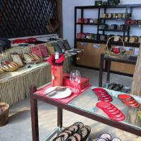 Various handicrafts made by Cambodian women and children are sold at a store near the Community Factory in northwestern Cambodia. | COURTESY OF KAMONOHASHI PROJECT