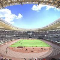 An artist rendering depicts the interior view of the latest National Stadium design by Japanese architect Kengo Kuma. | AP