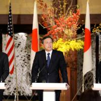 U.S. Deputy Secretary of State Tony Blinken (left), Japanese Vice Foreign Minister Akitaka Saiki (center) and South Korea's First Vice Minister of Foreign Affairs Lim Sung-nam attend a joint news conference at the Iikura Guest House in Tokyo on Saturday. | KYODO
