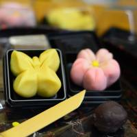 Butterfly and cherry blossom sweets made at the Kameya Yoshinaga workshop in Kyoto. | JASON JENKINS