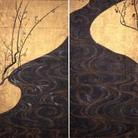 'Red and White Plum Blossoms' screens, a national treasure, by Ogata Korin (18th century)