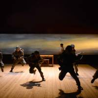Front line: Trainee actors at the Za-Koenji Theater Creation Academy in Tokyo all charged up in its annual graduation production of Edward Bond's trilogy, 'The War Plays.' | KATSU MIYAUCHI