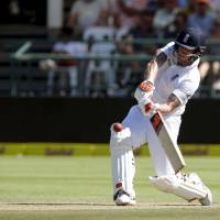 England's Ben Stokes plays a shot during the second test against South Africa on Saturday in Cape Town. | REUTERS