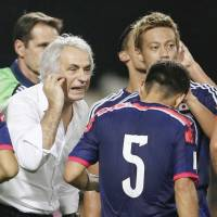 Japan manager Vahid Halilhodzic is troubled by the lack of creativity he sees from Japanese strikers. | KYODO