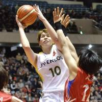 Jx-Eneos forward Ramu Tokashiki goes to the basket during the Sunflowers' 83-44 win over the Denso Iris in the final of the All-Japan Championship on Sunday.   KYODO