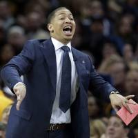 Cavaliers coach Tyronn Lue yells instructions during his team's game against the Bulls on Saturday in Cleveland. Chicago won 96-83. | AP