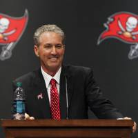 Dirk Koetter speaks at a news conference after being introduced as the new coach of the Tampa Bay Buccaneers on Friday. | AP