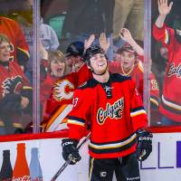 Calgary's Sam Bennett celebrates his fourth goal in the third period against Florida on Wednesday. The Flames won 6-0. | USA TODAY / REUTERS