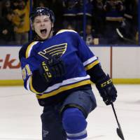 St. Louis' Vladimir Tarasenko exults after scoring against Pittsburgh on Monday night. The Blues skated past the Penguins 5-2.   AP