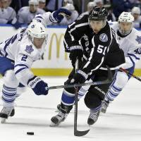 Tampa Bay's Valtteri Filppula (51) goes on the attack during the Lightning's 1-0 win over the Maple Leafs on Wednesday. | AP