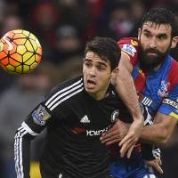 Chelsea's Oscar (left) battles for possession with Crystal Palace's Mile Jedinak during their Premier League game on Jan. 3. | REUTERS