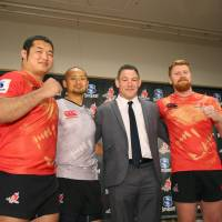 Head coach Mark Hammett (second from right) is so far the only listed member of the Sunwolves' coaching staff.   KYODO