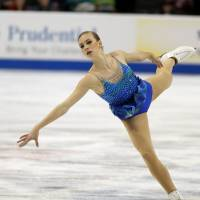 Polina Edmunds skates in the short program at the U.S. Figure Skating Championships on Thursday. Edmunds leads going into Saturday's free skate. | AP
