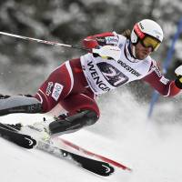 Norway's Kjetil Jansrud competes in the slalom portion of a World Cup super-combined in Wengen, Switzerland, on Friday. Jansrud won in a time of 2 minutes, 37.61 seconds. | AFP-JIJI