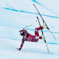 Aksel Lund Svindal crashes during a World Cup downhill event on Saturday in Kitzbuehel Austria. | AFP-JIJI