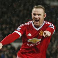 Manchester United's Wayne Rooney celebrates after scoring against Swansea during a 2-1 victory on Saturday. | REUTERS