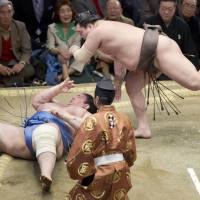 Hakuho throws Aoiyama to the ground during the fifth day of the New Year Grand Sumo Tournament on Thursday. | KYODO