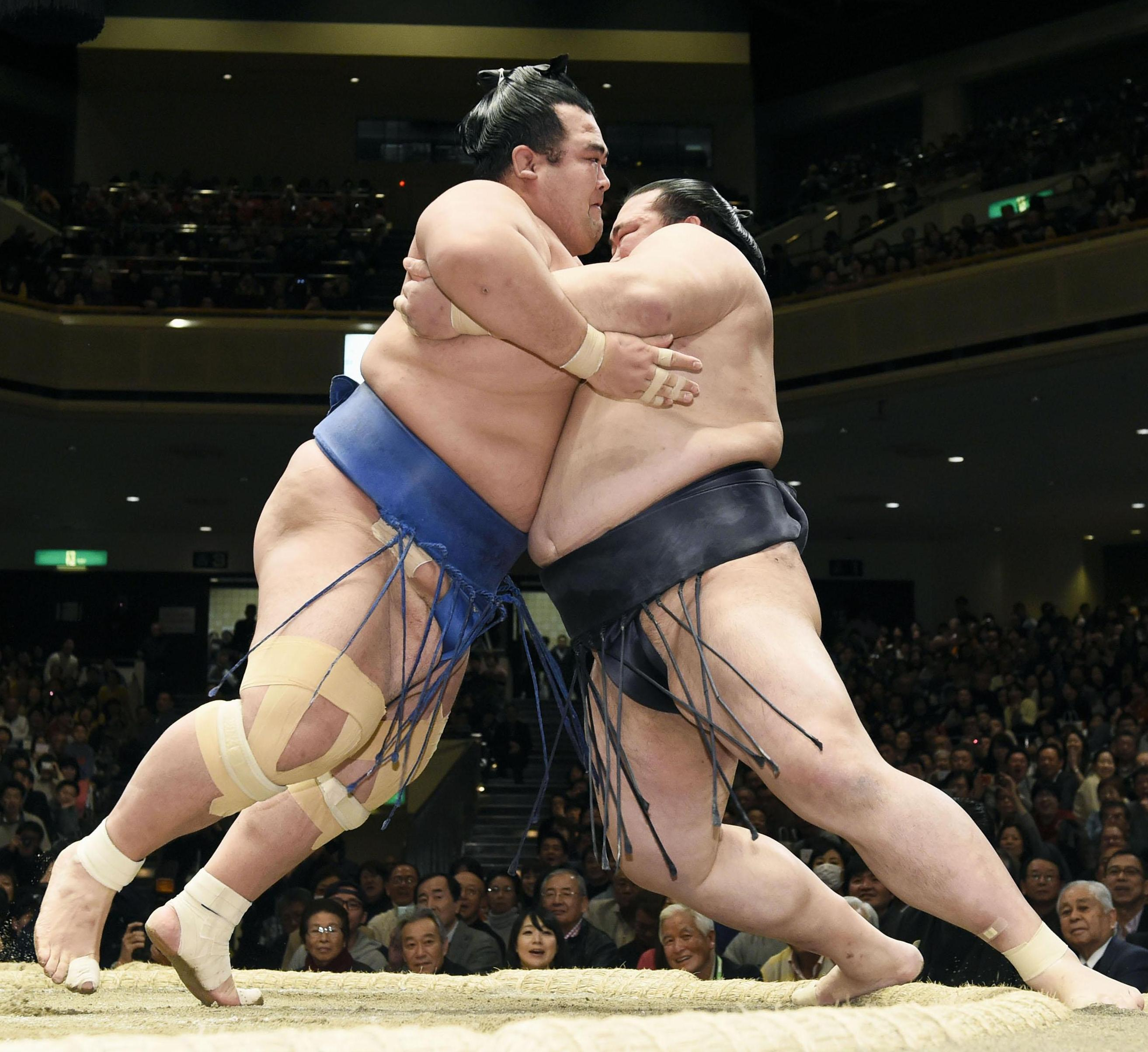 Kotoshogiku (left) and Kisenosato collide at the New Year Grand Sumo Tournament on Sunday. | KYODO