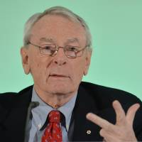 Dick Pound, chairman of WADA's Independent Commission, presents the report on doping in sport at a news conference in Munich on Thursday. | AP