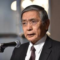 Bank of Japan Gov. Haruhiko Kuroda delivers a speech in Tokyo on Wednesday. The BOJ Policy Board last week introduced a rate of minus 0.1%, an unprecedented move in Japan. | AFP-JIJI
